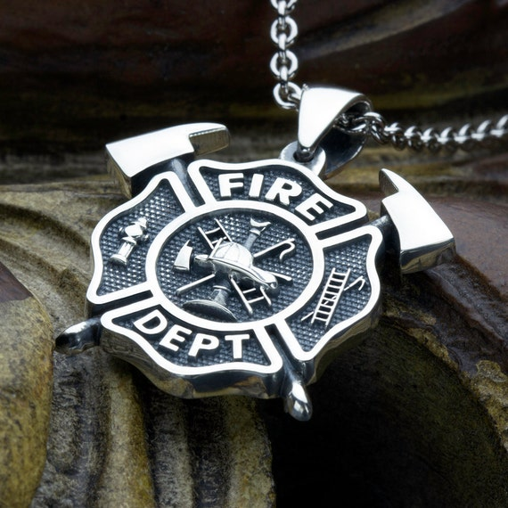 Medium Firefighter Fire Department Maltese Cross with Crossed Axes Sterling Silver Necklace Pendant
