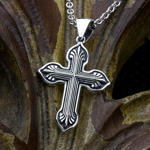 Sterling Silver Christian Fan End Cross Necklace Pendant