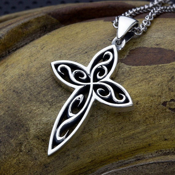 Sterling Silver Swirl Christian Cross Necklace Pendant