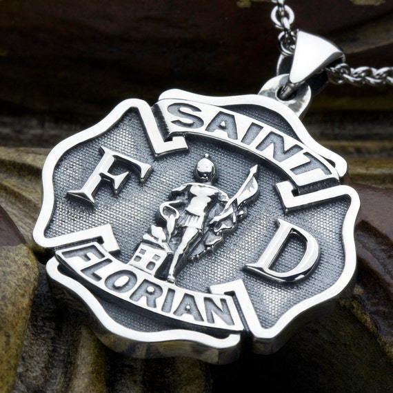 Large Maltese Cross Firefighter Saint Florian Sterling Silver Necklace Pendant