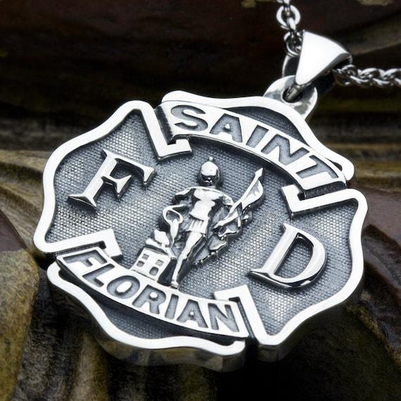 Large Maltese Cross Firefighter Saint Florian Sterling Silver Necklace Pendant