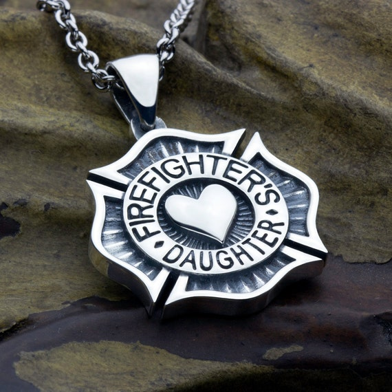 Firefighter's Daughter Maltese Cross with Heart Sterling Silver Necklace Pendant