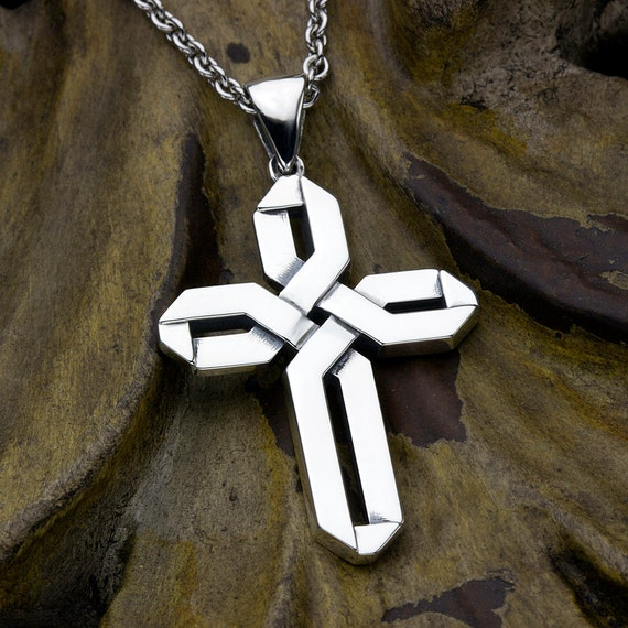 Christian Cross Pendant Sterling Silver Wide Weave