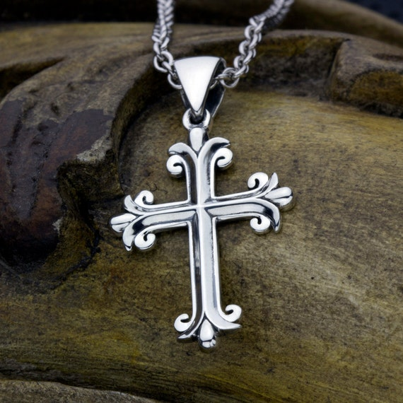 Christian Cross Fleur-de-lis Small Necklace Pendant - Sterling Silver