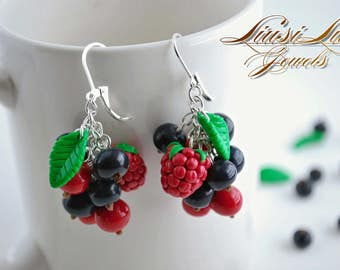 Berry earrings- currants and raspberry earrings