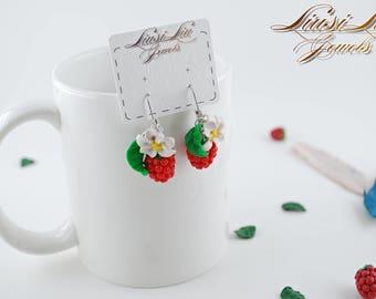 Berry earrings- Raspberry earrings