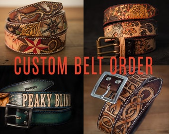 Custom Leather Belt Unique custom-made gift personnalized for men made for you