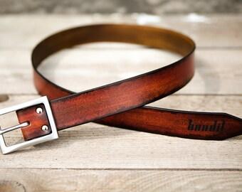 Brown leather belt for men handmade in France