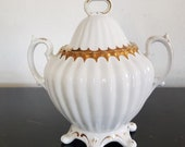 Victorian Ironstone Double Handle Lidded Sugar Bowl White With Gold