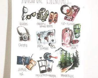Adventure essentials print 11x14in