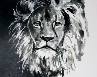 C.S. Lewis Lion black and white print watercolor simple, 11x14 art print
