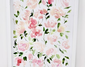 Rosie Blush Pink Print Watercolor Nursery Spring Decor 11x14 in!