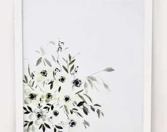 White Anenome Watercolor Floral Cluster Print 11x14in (word customizable option!)