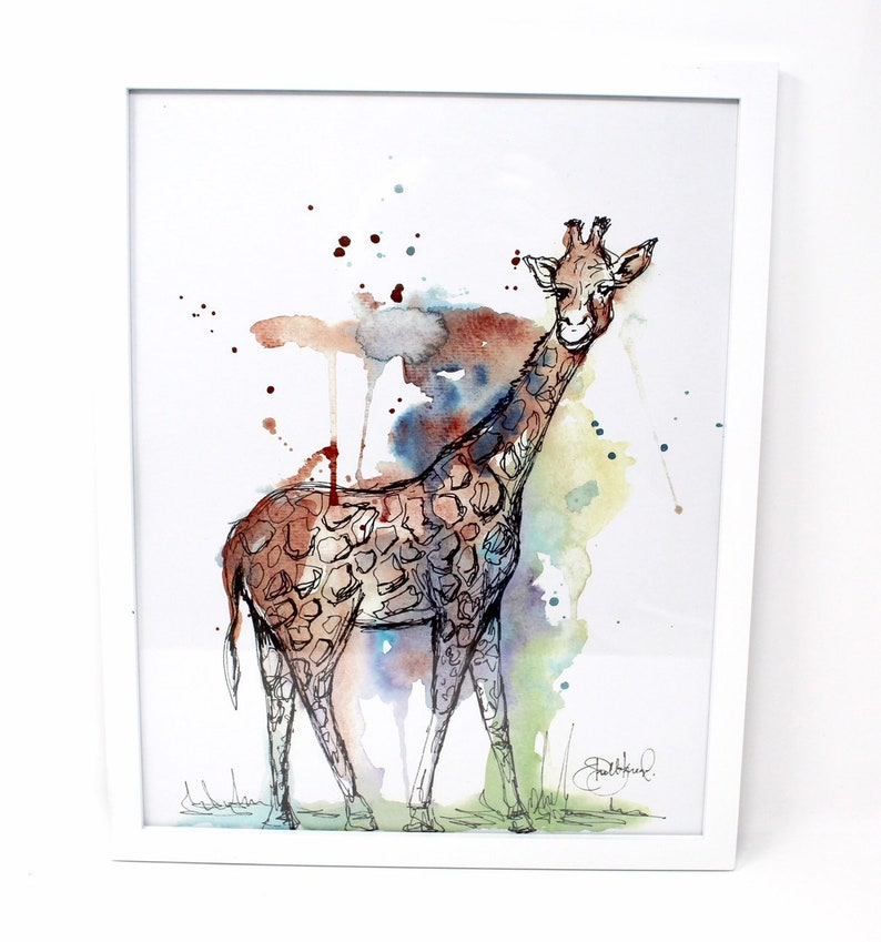 Mixed Media Giraffe Art Print 11x14in Safari Animal Art image 0
