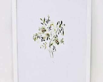 Simple Small Bouquet Watercolor Print 11x14 in !