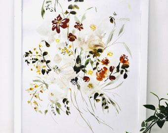 Neutral Copper Tone Flower Print Watercolor 11x14in!