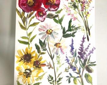 Wildflower print 11x14in