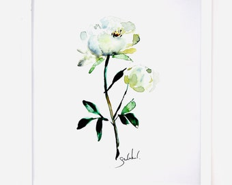 White Peony Flower Watercolor Art Print 11x14in Neutral