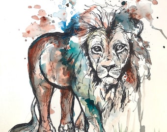 Lion mixed media print 11x14 in