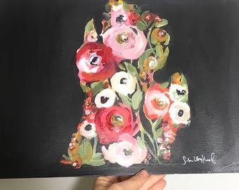 Black floral Michigan print 11x14in
