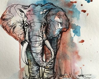Mixed media elephant print 11x15in