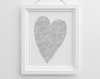 Tumblr Poster, Heart Printable, Love Poster, Valentines Day, Black White Nursery, Scandinavian Nursery, Nursery Illustration