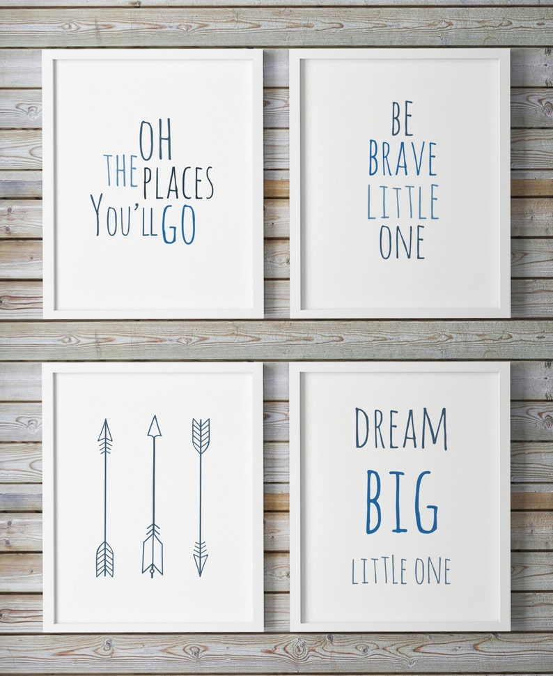 photo regarding Oh the Places You'll Go Arrows Printable titled Oh The Destinations Youll Shift, Desire Massive Very little 1 Printable Nursery Gallery Wall Artwork Blue, Mounted Of 4, Be Courageous Very little A person Tribal Arrows Military services Blue