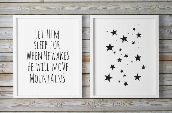 45e8080cd9a4e Baby Boy Nursery Wall Art, Nursery Set, Baby Boy Quote, Star Print, Stars,  Let Him Sleep, Kids Bedroom Decor, Childrens Room Art, Kids Signs