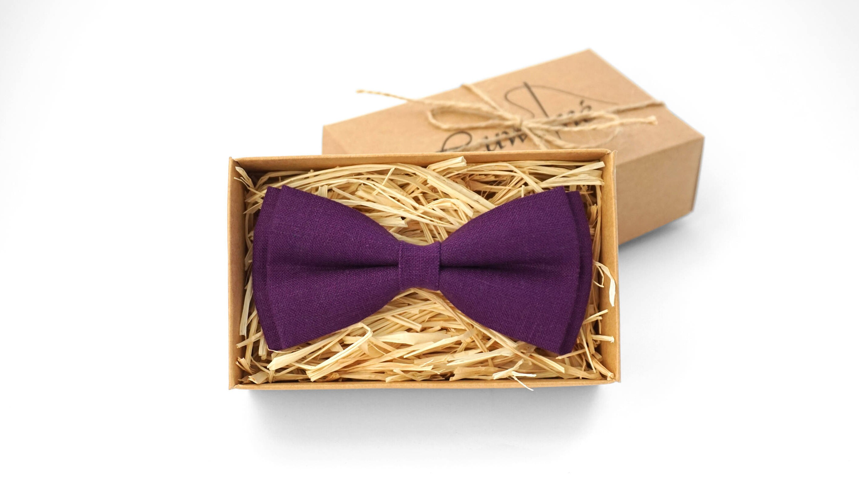 Orchid linen pre-tied mens bow tie//wedding bow tie for groomsmen//boys bow ties