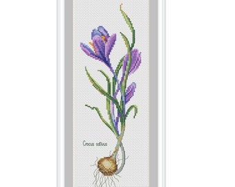 Crocus, spring, flowers, floral cross stitch, cross stitch pattern, PDF, modern cross stitch, instant download