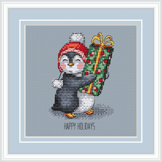 Christmas cross stitch pattern modern cross stitch penguin