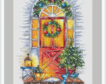 Christmas home cross stitch pattern, Modern cross stitch PDF Instant download