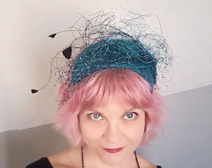 Blue Wedding Hat, Mother of the Bride, Occasion Hat, Wedding Headpiece, Blue Fascinator, Kate Middleton Hat, Unique Headpiece,  JCN Seaweed