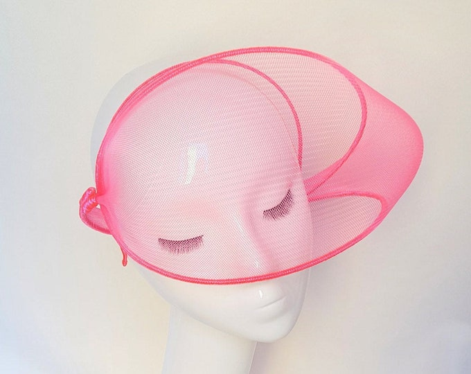 Neon Trend, Fluo Party, Disco Night, Fascinator, Hot Pink, Fascinator, Pink Headpiece, Ultra Glam Hat, Neon Color, JCN Fluo Mask