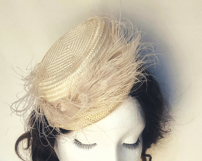 Free DHL upgrade! Bridal Ivory Hat Feathers Brooch Unique Gift Ideas Kate Middleton Hat Occasion Hat Church Hat Fascinator Cocktail Hat JCN
