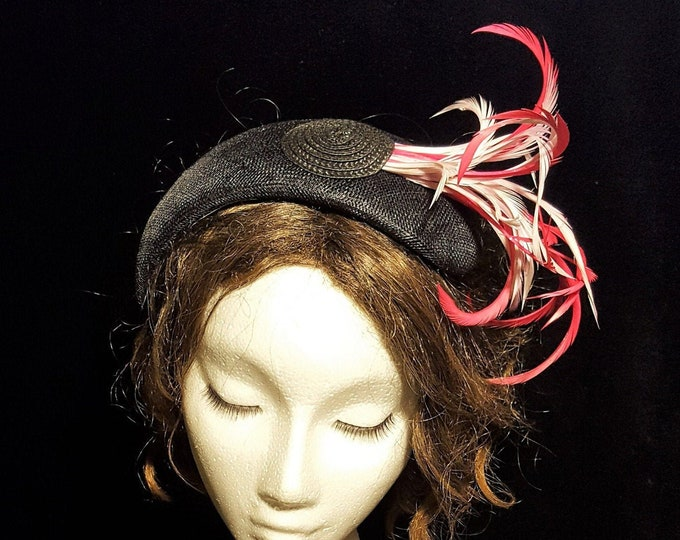 Evening Headpiece, Tea Party Hat, Black Pink, Fascinator, Church Hat, Occasion Hat, Cocktail Hat, Kate Middleton Hat, Bachelorette Party JCN
