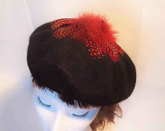 Free DHL upgrade! Black Wool Beret Beanie Red Black dots feathers Winter Hat Unique Christmas Gift for her Dressy Casual Cocktail Hat JCN