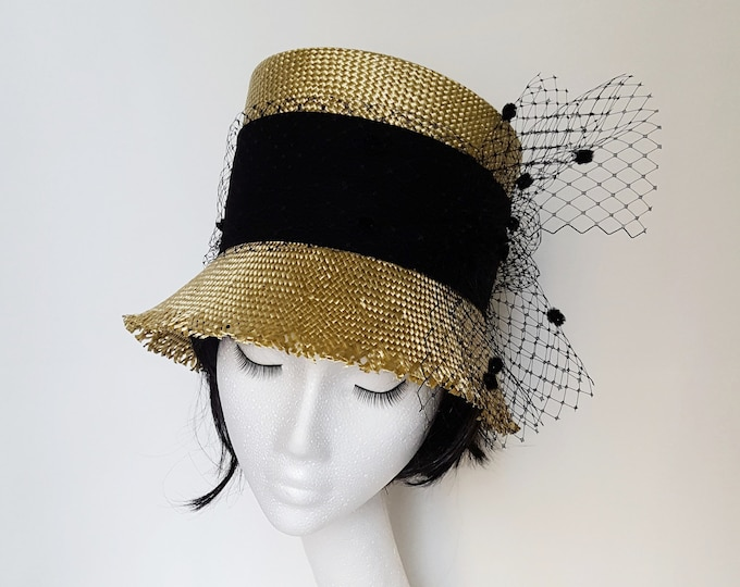 Millinery Hat, Casual Chic High Cloche Straw Hat Gold Black Veiling Summer Hat Unique Millinery Hat Elegant Wedding Guest Tea Party Hat JCN