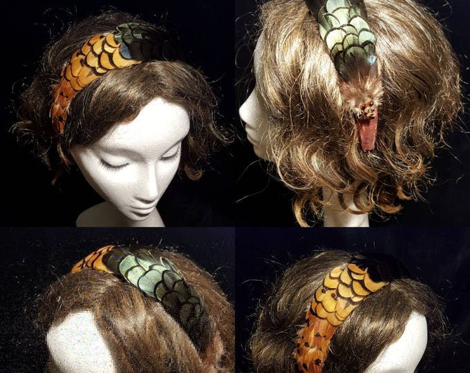 Free DHL upgrade! Silk Headband Fascinator Autumn Colors Feathers Evening Hat Theater Headpiece Cocktail Hat Elegant Xmas Gift for Her JCN