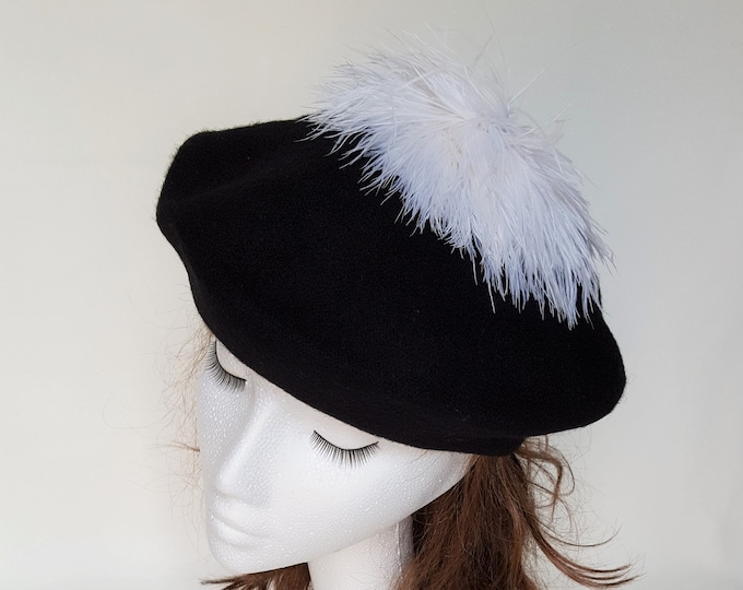 Free DHL upgrade! Wool Beret Beanie Hat Black White Pom Pom Ostrich Feathers Dressy Casual Unique Xmas Gift for Her Black & White Event JCN