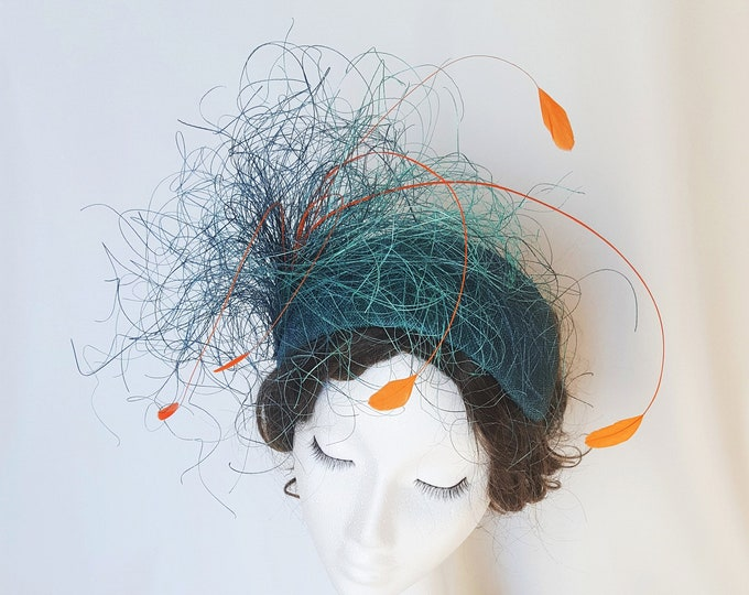 Free DHL upgrade! Teal Blue Jade Orange Fascinator Feathers Unique Headpiece Hat Mother Bride Groom Church Hat Wedding Guest Millinery JCN