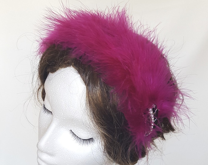 Free DHL upgrade! Headband Fascinator Hot Pink Feathers Vintage Brooch Valentine Flapper Evening Headpiece Occasion Hat Gift for her JCN