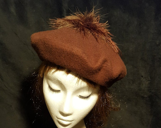 Free DHL upgrade! Wool Beret Beanie Hat Brown Beige pom pom Ostrich Feathers Dressy Casual Unique Xmas Gift for Her Evening Hat JCN