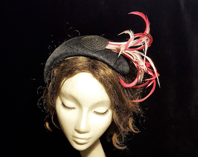 Free DHL upgrade! Black Crown Fascinator Pink Feathers Unique Millinery Headpiece Cocktail Hat Mother Bride Groom Church Wedding Guest JCN