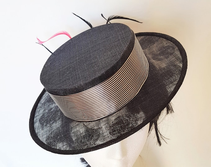 Black Boater Fascinator Hat Solitary Pink Feather Black White Striped Silk Band Kate Middleton Hat Millinery Church Hat Statement Derby JCN