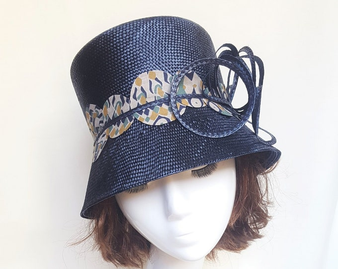 Millinery Hat, Blue, Cloche, Straw Hat, Navy Blue, Summer Hat, Unique, Elegant Hat, Occasion Hat, Wedding Guest Hat, Tea Party Hat, JCN