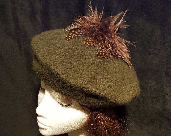Free DHL upgrade! Wool Beret Beanie Hat Dark Green Brown pom pom Ostrich Feathers Dressy Casual Unique Gift for Her Evening Hat JCN