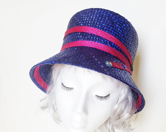 Millinery Hat Blue and Pink Straw Hat Womens Hats Summer Hat Cloche Church Hat Unique Elegant Casual Chic Wedding Guest Hat Tea Party JCN