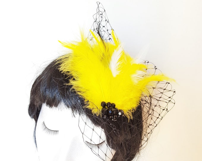 Free DHL upgrade! Unique Yellow Fascinator Black Veiling Feathers Glitter Xmas Valentine Gift for Her Cocktail Hat Burlesque Tocado JCN