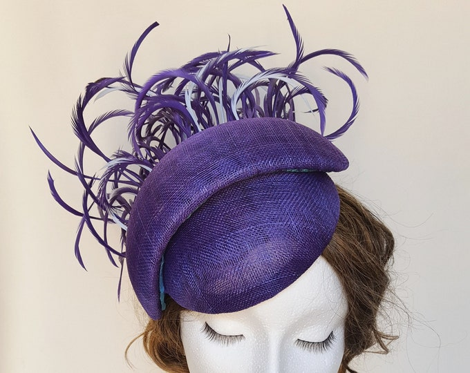 Free DHL upgrade! Purple Sinamay Fascinator Feathers Unique Headpiece Mother of Bride Groom Church Hat Wedding Guest Tocado Millinery JCN